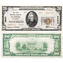 $20 1929 T2 The First National Bank. Charter #6893.Very Fine/Extremely Fine., OK - Cushing,