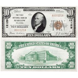 $10 1929 T The First National Bank. Charter #12129. Gem Uncirculated., OK - Marlow,