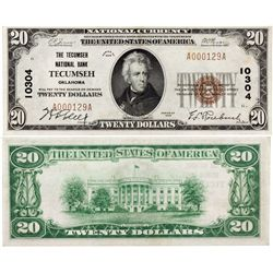 $20 1929 T The Tecumseh National Bank. Charter #10304. Extremely Fine/Almost Unc., OK - Tecumseh,