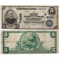 $5 1902 The First National Bank. Charter #6295. Fine., OR - Burns,