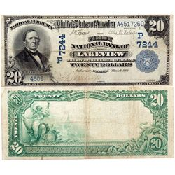 $20 1902 PB The First National Bank. Charter #7244. Fine., OR - Lakeview,