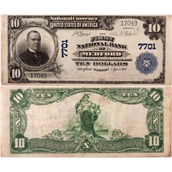 $10 1902 PB The First National Bank. Charter #7701. PMG 40 Extremely Fine., OR - Medford,