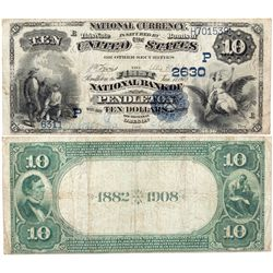 $10 1882 DB The First National Bank. Charter #2630. Fine., OR - Pendleton,