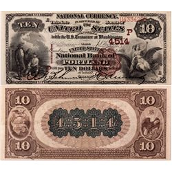 $10 1882 BB The United States National Bank. Charter # 4514. PMG 35 Choice Very Fine (EPQ), OR - Por