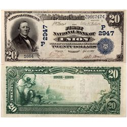 $20 1902 DB The First National Bank. Charter # 2947. PMG 30 Very Fine., OR - Union,