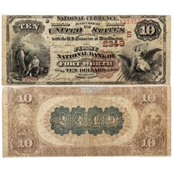 $10 1882 BB The First National Bank. Charter #2349. Fine, repaired., TX - Fort Worth,