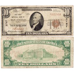$10 1929 T The First National Bank. Charter #2767. Very Good., TX - San Angelo,