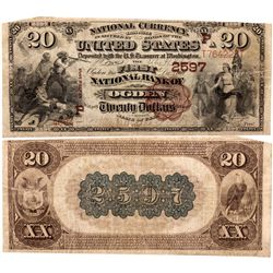 $20 Brown Back from the 'First National Bank of Ogden', UT - Ogden,Weber County