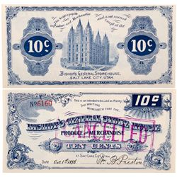 Bishops Storehouse Blue 10c Scrip, UT - Salt Lake City,