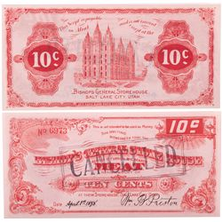 Bishops Storehouse Red 10c Scrip, UT - Salt Lake City,