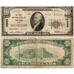 $10 1929 T-2. The First National Bank. Charter # 10925. Very Good., UT - Moab,