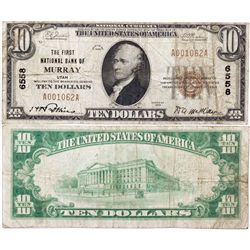 $10 1929 The First National Bank. Charter 6558. Very Good., UT - Murray,