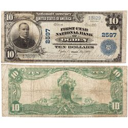 $10 1902 The First Utah National Bank. Charter # 2597. Very Good., UT - Ogden,