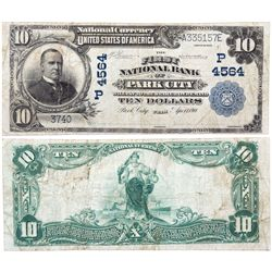 $10 1902 The First National Bank. Charter # 4564. Fine., UT - Park City,