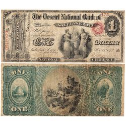 $1 The Deseret National Bank. Charter #2059. Very Good/ Fine. Restorations., UT - Salt Lake City,
