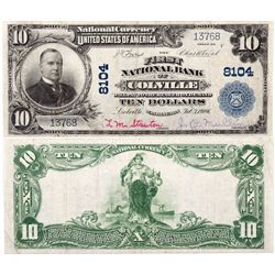 $10 1902 The First National Bank. Charter # 8104. Fine., WA - Colville,