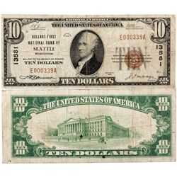 $10 1929 Ballard First National Bank. Charter # 11280. Fine., WA - Seattle,