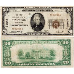 $20 1929 The First National Bank. Charter # 11935. Very Good., WA - Stanwood,