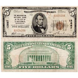 $5 1929 The Washington National Bank. Charter # 12667. Very Good/Fine., WA - Tacoma,