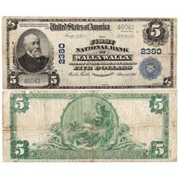 $5 1902 PB The First National Bank. Charter #2380. Very Good., WA - Walla Walla,