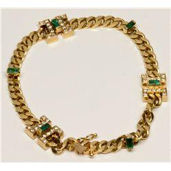 "Diamond, Emerald, Gold ""H"" Bracelet"