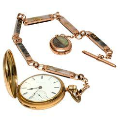 M. M. Fredrick Elgin Pocket Watch with Gold Quartz Chain and Locket Fob, NV - Virginia City,Storey C