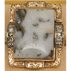 Men's Size 10 Gold Quartz Ring, NV - Virginia City,Storey County