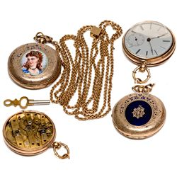 Eilley Oram Bowers Enameled Gold Watch and Opal Slide Chain, NV - Washoe Valley,Washoe County