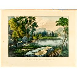 """Currier and Ives Lithograph  """"Looking Down the Yo-Semite"""", CA - ,"""