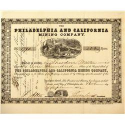 Philadelphia and California Mine Stock Certificate, CA - ,