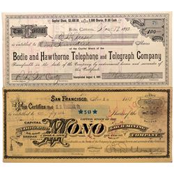 Bodie Stock Certificates, CA - Bodie,