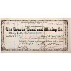 Sonora Land and Mining Co. Stock Certificate for Samuel Brannan, CA - Calaveras,