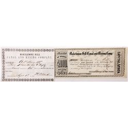 Mokelumne Hill Canal and Mining Company Stock and Share Purchase Receipt, CA - Mokelumne Hill,Calave