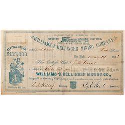 Williams & Kellinger Mining Company Stock, CA - Red Bluff,Tehama County