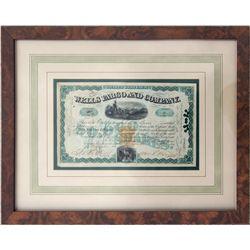 Exceptional Rare Wells Fargo Stock Signed by William Fargo, CA - San Francisco,