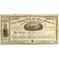 William Keith Illustrated Stock Certificate, CA - San Francisco,