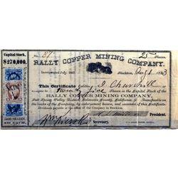 Rally Copper Mining Company Stock Certificate, CA - Stockton,Calaveras County