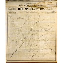Map of the Mother Lode and Principal Quartz Mines in the Counties of Tuolumne and Calaveras, CA - So