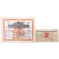 The Colorado Telephone Company Stock Certificate Set, CO - Denver,