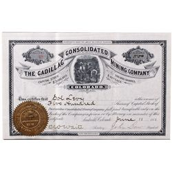 Cadillac Consolidated Mining Co. Certificate, CO - Leadville,Lake County