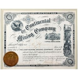 Continental Mining Co. Certificate, CO - Leadville,Lake County