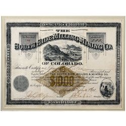 South Side Milling & Mining Co. Certificate, CO - Leadville,Lake County