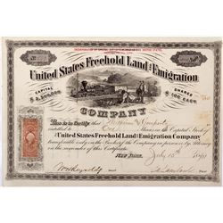 United States Freehold Land and Emigration Company Stock, CO - San Luis Valley,Costilla