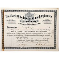 The Black Hills Telegraph and Telephone Company Stock *Territorial*, Dakota - ,