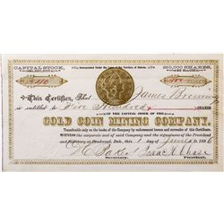 Gold Coin Mining Company Stock *Territorial*, Dakota - Deadwood,