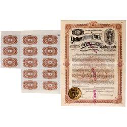 Yellowstone Park Telephone and Telegraph Company Bond Certificate, MT - Yellowstone,
