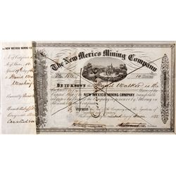 New Mexico Mining Co. Certificate, NM - Shakespeare,Sante Fe