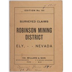Surveyed Claims of the Robinson Mining District, NV - Ely,White Pine County