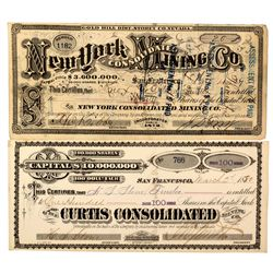 New York, & Curtis Consolidated Stock Certificates, NV - Gold Hill,Storey County