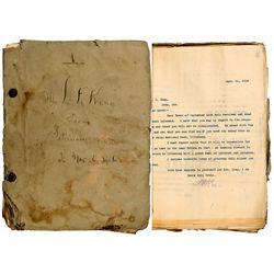 McCune, John Robertson III Mining Letter Assortment, NV - Goldfield,Esmeralda County